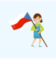 girl holding national flag of czech republic vector image vector image