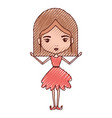 girly fairy without wings and light brown mushroom vector image vector image