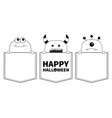 happy halloween black line contour monster vector image vector image