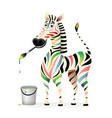 happy positive colorful zebra psychology concept vector image vector image