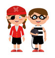 little kids disguised as a pirate and prisoner vector image