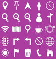 Map icons on purple background vector image vector image