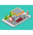 Mobile GPS navigation gas station concept View a vector image vector image