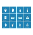 Mouse and keyboard icons on blue background vector image vector image