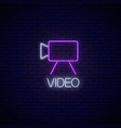 neon sign video camera symbol with text on vector image