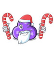 santa with candy trefoil mascot cartoon style vector image