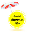 special summer offer ad summer banner with sun vector image vector image