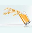 splash orange juice from a falling glass vector image vector image