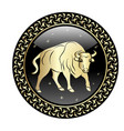 taurus zodiac sign in circle frame vector image