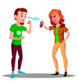 teen girl protect herself with pepper spray vector image vector image