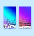 trendy cover template coliseum rome italy vector image