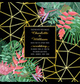 tropical wedding invitation on geometric vector image