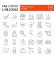 valentines day thin line icon set romance symbols vector image vector image