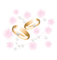 vector golden wedding rings with diamonds vector image