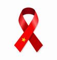 vietnamese flag stripe ribbon on white background vector image vector image