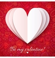 White paper heart on red ornate background vector image