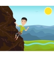 Funny man climbing on a cliff vector image