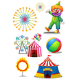 A clown with the different things in a carnival vector image vector image