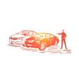 automobile sale business luxury vehicle showroom vector image vector image