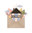 autumn forest and house in envelope hygge autumn vector image
