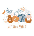 autumn sweet delightful fruits hand drawn vector image