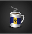barbados flag printed on hot coffee cup vector image