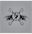 biker man and wrenches vintage emblem on metal vector image