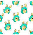 bunny girlfriend seamless pattern textile print vector image vector image