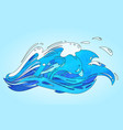 cartoon blue wave with a drops and splashes vector image vector image