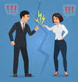 Cartoon man and woman quarreling angry office