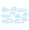 collection of blue chinese cloud symbols vector image
