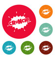 comic boom crunch icons circle set vector image vector image