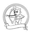 cupid with arch on round emblem sketch vector image vector image