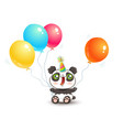 cute panda with balloons vector image vector image