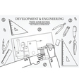 Development Engineering Project blueprints ruler vector image