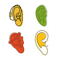 ear icon set color outline style vector image