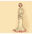 Elegant lady in evening dress with clutch vector image vector image