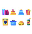 fast food and cake set vector image