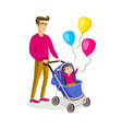 father with a bacarriage colored modern flat vector image vector image