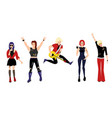 flat rock music young people set vector image vector image