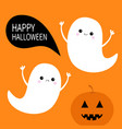 flying ghost spirit set pumpkin smiling face vector image vector image