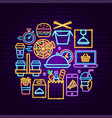food order delivery neon concept vector image vector image