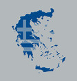 greece map with the greek flag vector image vector image