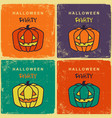 halloween party vintage cards with pumpkins vector image