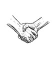 hand drawn handshake isolated sketch vector image