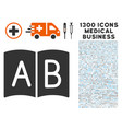 handbook icon with 1300 medical business icons vector image