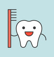 happy cute tooth carrying toothbrush dental vector image