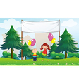 Happy kids with balloons below an empty signage vector image vector image
