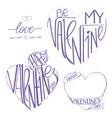 happy valentine s day card set of calligraphic vector image