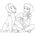 hugs a girl and a dog vector image vector image